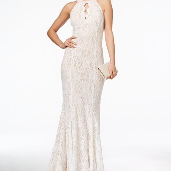 55660709fd5b Night Way Collections Dresses | Nightway Lace Keyhole Halter Gown ...
